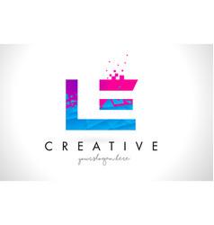 Le l e letter logo with shattered broken blue vector