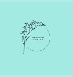 Limonium babys breath logo and branch logo vector