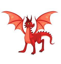 Magic dragon fantasy colorful winged red creature vector