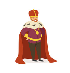 Majestic emperor in red ermine mantle fairytale vector