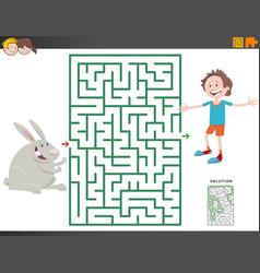 Maze game with cartoon boy and bunny vector