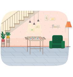 Modern room under stairs interior design cozy vector