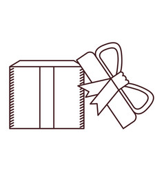 Monochrome silhouette of opened gift box with vector
