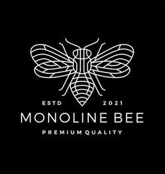 monoline bee line outline line art black vector image