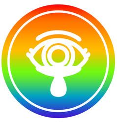 Mystic eye crying blood circular in rainbow vector