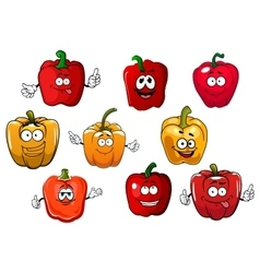Orange and red bell pepper vegetables vector