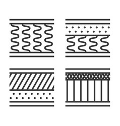 orthopedic mattress types icon set on white vector image