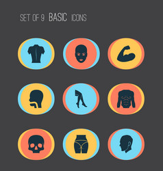 part icons set with leg head back and other head vector image