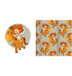 Pattern set cupid ride on little pony vector