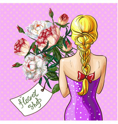 pop art girl with flower bouquet vector image