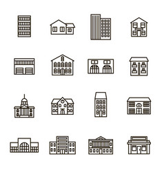 property house signs black thin line icon set vector image