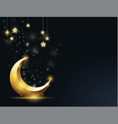 ramadan kareem greeting card - crescent and vector image