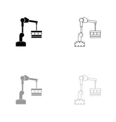Robotic hand manipulator black and grey set icon vector