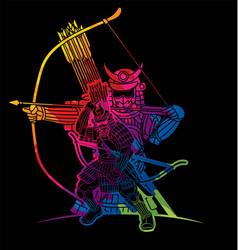 samurai warrior action cartoon graphic vector image