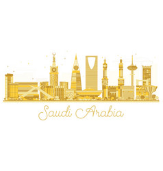 Saudi arabia golden skyline silhouette vector