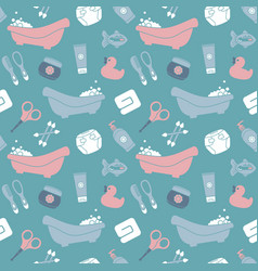 Seamless background on theme baby bathing vector