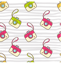 seamless summer pattern with color photo camera vector image