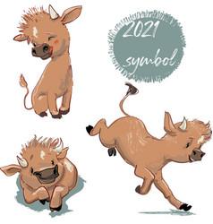 Set cute cartoon calf vector