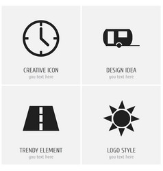 Set of 4 editable journey icons includes symbols vector