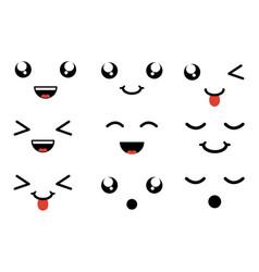set of faces kawaii characters vector image