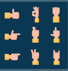set of hand signs communication concept vector image