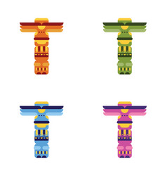 set of native traditional totem pole vector image