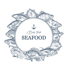 sign with seafood sketches or banner with fish vector image