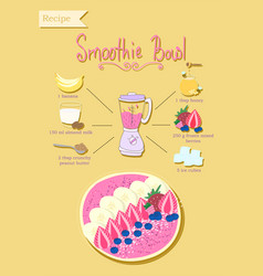 Smoothie bowl recipe vector
