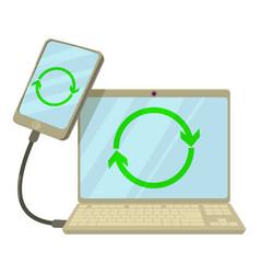 synchronization icon cartoon style vector image vector image