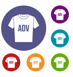 T-shirt with print adv icons set vector