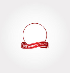 Template logo 90th anniversary with a circle vector