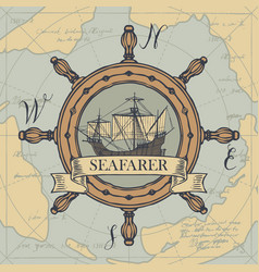 Travel banner with helm sailing ship and old map vector