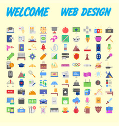 Universal set of social technical household icons vector