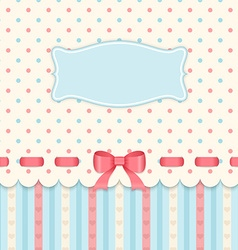 Vintage card with bow on polka dots background vector image