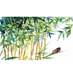 Watercolor bamboo with bugs and flies vector