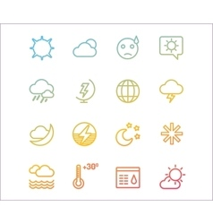 Weather icons outline set Moon sky or vector image