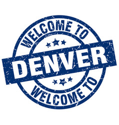 Welcome to denver blue stamp vector