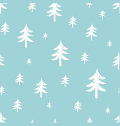 winter forest seamless pattern christmas tree on vector image