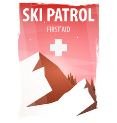 Winter sport ski patrol mountain landscape vector