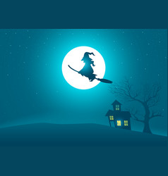 witch riding a broomstick flying on scary house vector image