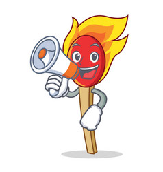 With megaphone match stick character cartoon vector