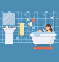 Woman in bathroom funny characters vector