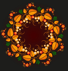 wreath khokhloma vector image