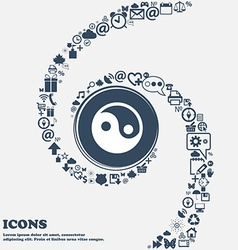 Ying yang icon sign in the center Around the many vector
