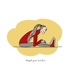 Yoga at work girl with laptop for your design vector image