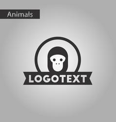 black and white style icon monkey logo vector image