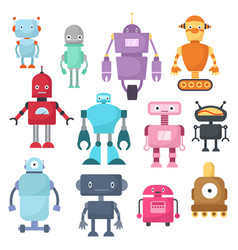 cute cartoon robots android and spaceman cyborg vector image vector image