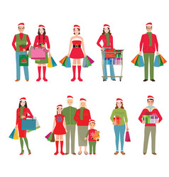 happy family in santa hats isolated white vector image vector image