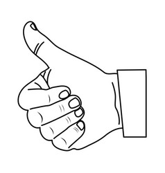 monochrome contour with hand thumb up vector image