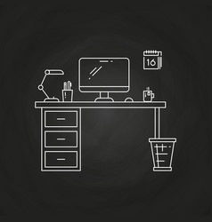 office work place with table computer lamp vector image vector image